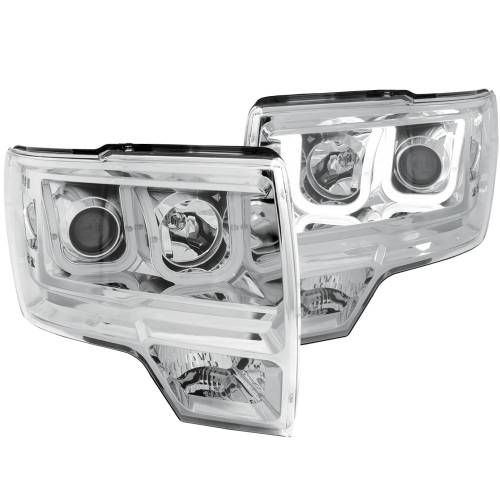 Anzo - Anzo Projector Headlight, Ford (2009-14) F-150 (Chrome Housing/ Clear Lens)