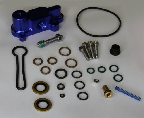"AVP - AVP Adjustable Fuel Pressure Regulator ""Blue Spring"" Upgrade Kit, Ford (2003-07) 6.0L Power Stroke (Blue Housing)"