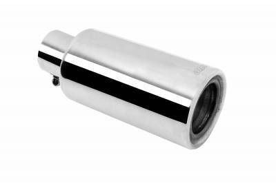 Gibson Performance - Gibson UTV Performance Muffler Quiet Tip Clamp on, Rolled Edge (Stainless)