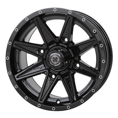 """Frontline Tires - Frontline All Terrain 308, UTV Wheels - 14x7"""" wheel (4/156) 5+2 Offset, +10mm(Black)"""