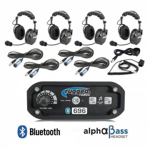 Rugged Radios - Rugged Radios RRP696 4 Person Bluetooth Intercom System with AlphaBass Headsets
