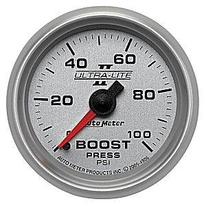 Autometer - Auto Meter Ultra Lite II Series, Boost Pressure 0-100psi (Mechanical)
