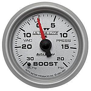 "Autometer - Auto Meter Ultra Lite II Series, Boost/Vacuum Pressure 30"" HG/20psi (Mechanical)"