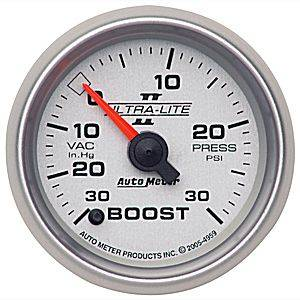 "Autometer - Auto Meter Ultra Lite II Series, Boost/Vacuum Pressure 30"" HG/30psi (Full Sweep Electric)"