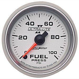Autometer - Auto Meter Ultra Lite II Series, Fuel Pressure 0-100psi (Full Sweep Electric)