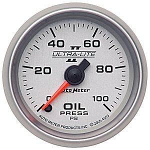 Autometer - Auto Meter Ultra Lite II Series, Oil Pressure 0-100psi (Full Sweep Electric)
