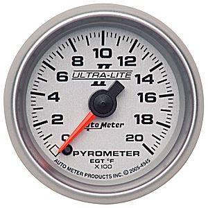 Autometer - Auto Meter Ultra Lite II Series, Pyrometer Kit 0*-2000*F (Full Sweep Electric)