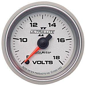 Autometer - Auto Meter Ultra Lite II Series, Voltmeter 8-18volts (Full Sweep Electric)