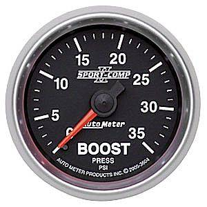 Autometer - Auto Meter Sport-Comp II Series, Boost Pressure 0-35psi (Mechanical)
