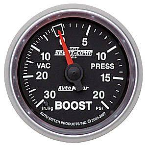 "Autometer - Auto Meter Sport-Comp II Series, Boost/Vacuum Pressure 30"" HG/20psi (Mechanical)"