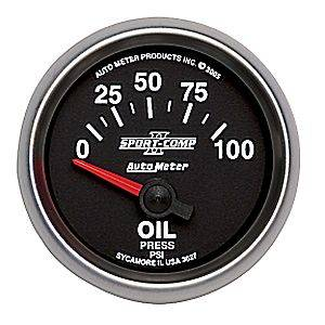 Autometer - Auto Meter Sport-Comp II Series, Oil Pressure 0-100psi (Short Sweep Electric)