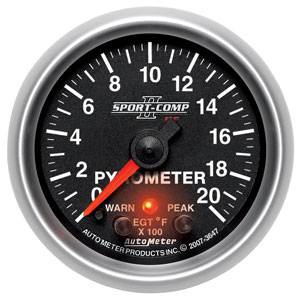 Autometer - Auto Meter Sport-Comp II Series, Pyrometer Kit 0*-2000*F (Full Sweep Electric) w/ Warning