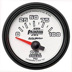 Autometer - Auto Meter Phantom II Series, Oil Pressure 0-100psi (Short Sweep Electric)