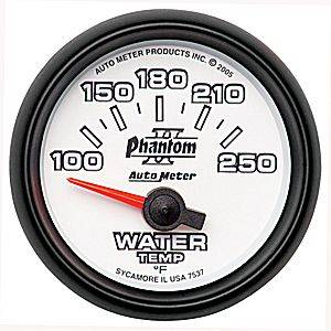Autometer - Auto Meter Phantom II Series, Water Temperature 100*-250*F (Short Sweep Electric)