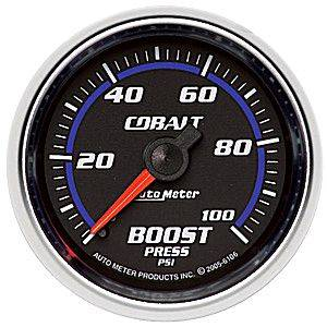 Autometer - Auto Meter Cobalt Series, Boost Pressure 0-100psi (Mechanical)