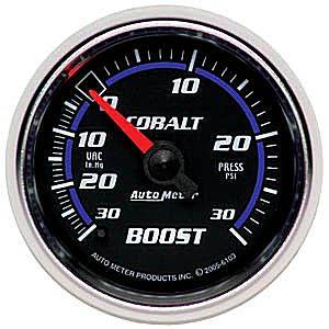 "Autometer - Auto Meter Cobalt Series, Boost/Vacuum Pressure 30""HG/30psi (Mechanical)"
