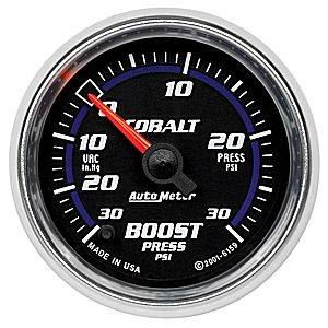 "Autometer - Auto Meter Cobalt Series, Boost/Vacuum Pressure 30""HG/30psi (Full Sweep Electric)"