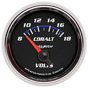 Autometer - Auto Meter Cobalt Series, Voltmeter 8-18volts (Short Sweep Electric)