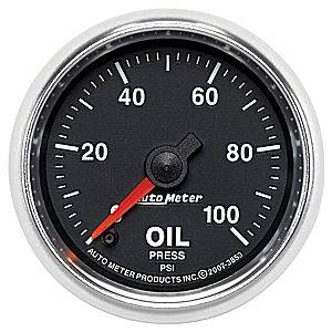 Autometer - Auto Meter GS Series, Oil Pressure 0-100psi (Full Sweep Electric)