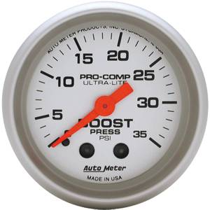 Autometer - Auto Meter Ultra Lite Series, Boost Pressure 0-35psi (Mechanical)