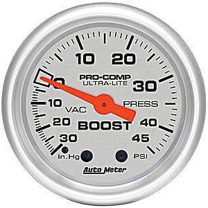 "Autometer - Auto Meter Ultra Lite Series, Boost/Vacuum 30"" HG/45psi (Mechanical)"
