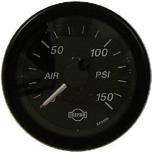 """Isspro - Isspro EV Series Black Face/Red Pointer, Air Pressure Gauge """"150psi"""", Dual Needle"""