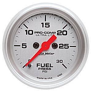 Autometer - Auto Meter Ultra Lite Series, Fuel Pressure 0-30psi (Full Sweep Electric)