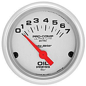Autometer - Auto Meter Ultra Lite Series, Oil Pressure 0-7 BAR (Short Sweep Electric)