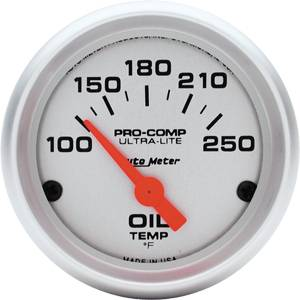 Autometer - Auto Meter Ultra Lite Series, Oil Temperature 100*-250*F (Short Sweep Electric)
