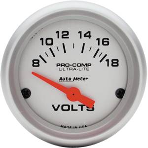 Autometer - Auto Meter Ultra Lite Series, Voltmeter 8-18volts (Short Sweep Electric)