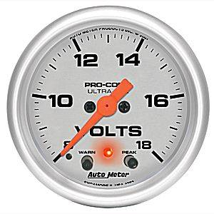 Autometer - Auto Meter Ultra Lite Series, Voltmeter 8-18volts (Full Sweep Electric) w/ warning