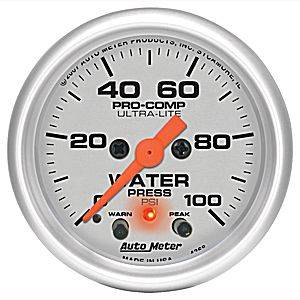 Autometer - Auto Meter Ultra Lite Series, Water Pressure 0-100psi (Full Sweep Electric) w/ warning