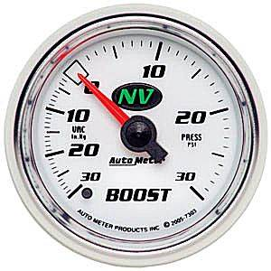"Autometer - Auto Meter NV Series, Boost/Vacuum Pressure 30"" HG/30psi (Mechanical)"