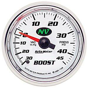 "Autometer - Auto Meter NV Series, Boost/Vacuum Pressure 30"" HG/45psi (Mechanical)"