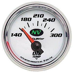 Autometer - Auto Meter NV Series, Oil Temperature 140*-300*F (Short Sweep Electric)