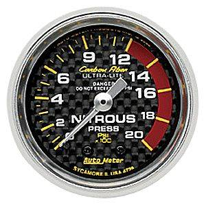 Autometer - Auto Meter Carbon Fiber Series, Nitrous Pressure 0-2000 PSI, (Mechanical)