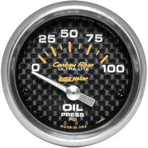 Autometer - Auto Meter Carbon Fiber Series, Oil Pressure 0-100 PSI (Short Sweep Electric)