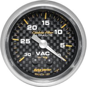 "Autometer - Auto Meter Carbon Fiber Series, Vacuum 30"" HG (Mechanical)"