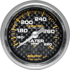 Autometer - Auto Meter Carbon Fiber Series, Water Temperature 100 - 260 deg. F, (Mechanical)