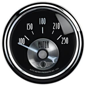Autometer - Auto Meter Prestige Series, Black Diamond, Water Temperature 100-250 deg. F (Short Sweep Electric)