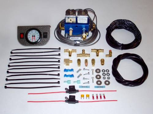 Pacbrake - Pacbrake Simultaneous Air Spring Activation Dash Switch Kit, with Solenoid, 1 Auxiliary Switch, and Dual Needle Gauge