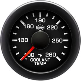 Isspro - Isspro EV2 Series Black Face/Red Pointer/Green Lighting, Coolant Temp Gauge (100-280*)