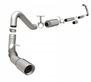 "Magnaflow - MagnaFlow 4"" Turbo Back, MagnaFlow Series Exhaust, Ford (2003-07) 6.0L Diesel, Side Rear Exit, Stainless, 3.5"" Tuner Downpipe, Dually"