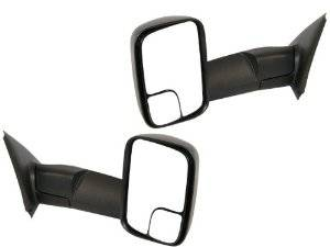 Exterior Accessories - Mirrors - Dodge Tow Mirrors (2002-08) 1500 Ram & (2003-09) 2500/3500 Ram, Power, Heated, Telescopic, Folding, Black, Aftermarket (Pair)