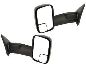 Exterior Accessories - Mirrors - Dodge Tow Mirrors (2002-08) 1500 Ram & (2003-09) 2500/3500 Ram, Power, Heated, Flip-Up, Folding, Black, Aftermarket (Pair)