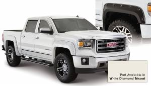 Exterior Accessories - Fender Trim - Bushwacker - Bushwacker Fender Flares, GMC Boss (2014-15) 1500 Fender FlareSet of 4White Diamond Tricoat(Pocket Style)