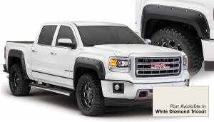 Exterior Accessories - Fender Trim - Bushwacker - Bushwacker Fender Flares, GMC (2014-15) 1500 Fender Flare Set of 4 White Diamond Tricoat(Pocket Style)