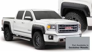 Exterior Accessories - Fender Trim - Bushwacker - Bushwacker Fender Flares, GMC (2014-15) 1500 Fender FlareSet of 4Quicksilver Metallic(Pocket Style)