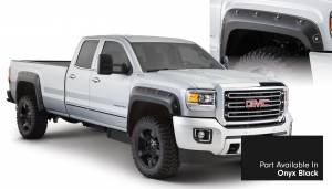 Exterior Accessories - Fender Trim - Bushwacker - Bushwacker Fender Flares, GMC Boss (2015) 2500/3500 Fender Flare Set of 4 Onyx Black(Pocket Style)