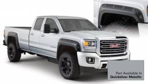 Exterior Accessories - Fender Trim - Bushwacker - Bushwacker Fender Flares, GMC Boss (2015) 2500/3500 Fender FlareSet of 4Quicksilver Metallic(Pocket Style)